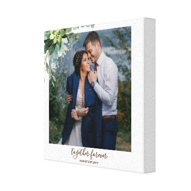Eucalyptus Leaves Wedding Newlyweds Bridal Party Canvas Print