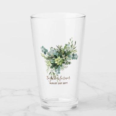 Eucalyptus Leaves Wedding Newlyweds Bridal Party Glass