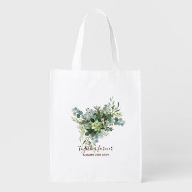 Eucalyptus Leaves Wedding Newlyweds Bridal Party Grocery Bag