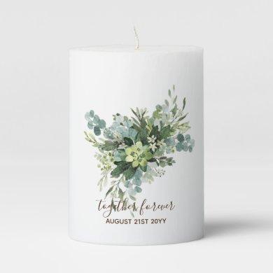 Eucalyptus Leaves Wedding Newlyweds Bridal Party Pillar Candle
