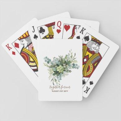 Eucalyptus Leaves Wedding Newlyweds Bridal Party Playing Cards