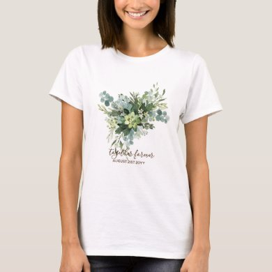 Eucalyptus Leaves Wedding Newlyweds Bridal Party T-Shirt