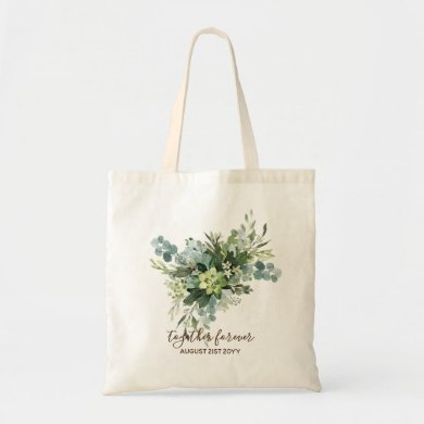 Eucalyptus Leaves Wedding Newlyweds Bridal Party Tote Bag