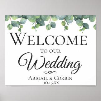 Eucalyptus Leaves Wedding Welcome Poster