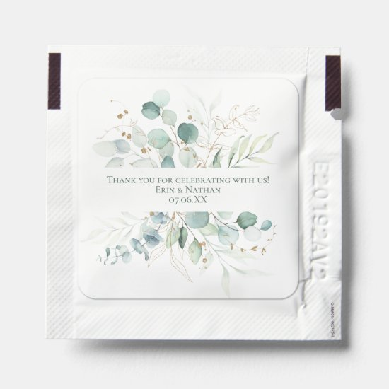 Eucalyptus Leaves with Gold Accents Wedding Favors Hand Sanitizer Packet
