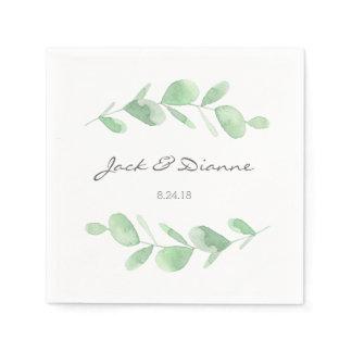 Eucalyptus Personalized Wedding Napkin