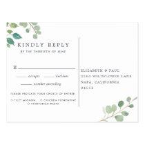 Eucalyptus RSVP Postcard with Meal Choice