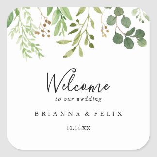 Eucalyptus Simple Brown Floral Wedding Welcome Square Sticker