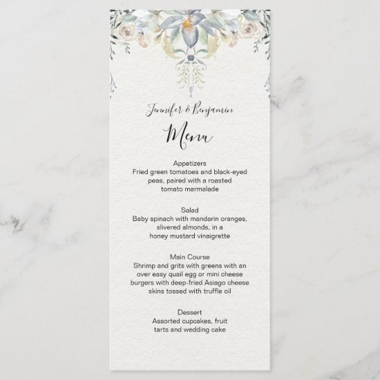 Eucalyptus Succulents Floral Wedding | Menu