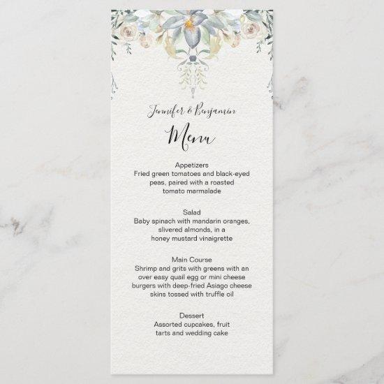 Eucalyptus Succulents Floral Wedding | Menu