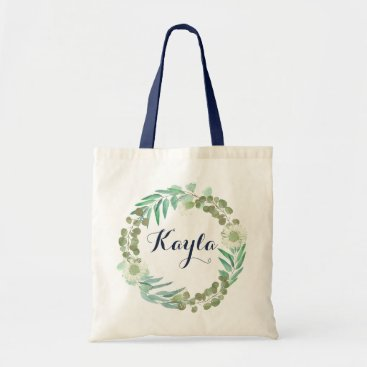 Beach Themed Eucalyptus Tote Bag. Personalized Tote Bag