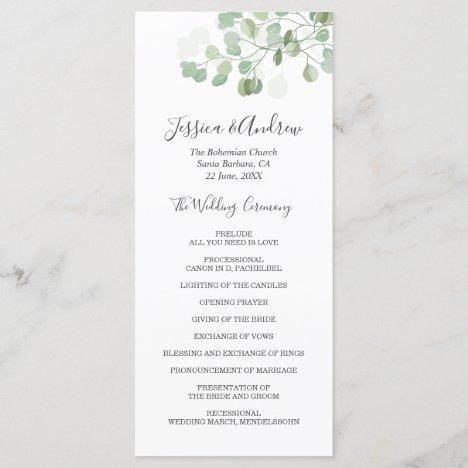 Eucalyptus Wedding Ceremony Program Foliage