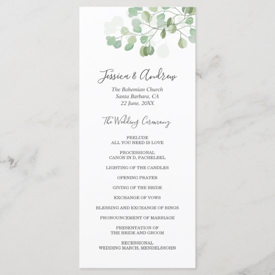 Eucalyptus Wedding Ceremony Program Foliage