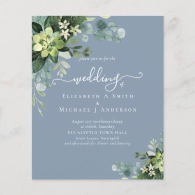 Eucalyptus Wedding Watercolor Greenery Invitations