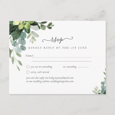 Eucalyptus Wedding - Watercolor Greenery Leaves Postcard