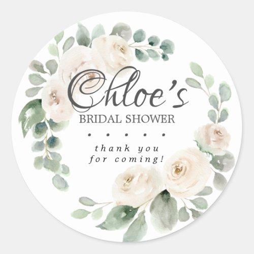 Eucalyptus White Floral Bridal Shower Thank You Classic Round Sticker