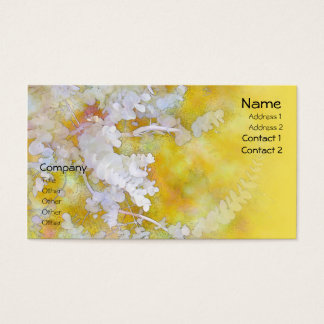 Eucalyptus White on Yellow Business Cards
