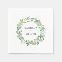 Eucalyptus Wreath | Botanical Personalized Wedding Napkin