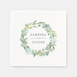 Eucalyptus Wreath | Botanical Personalized Wedding Napkin