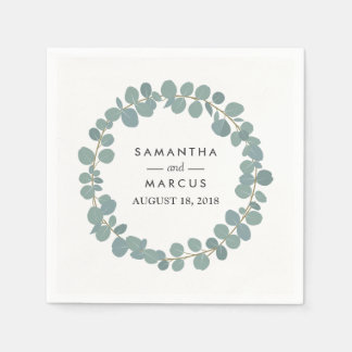 Eucalyptus Wreath Greenery Wedding Napkins