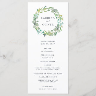 Eucalyptus Wreath Wedding Ceremony Program