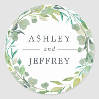 Eucalyptus Wreath Wedding Classic Round Sticker