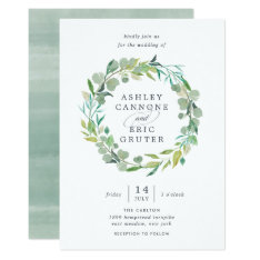 Eucalyptus Wreath Wedding Invitation at Zazzle
