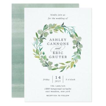RedwoodAndVine Eucalyptus Wreath Wedding Invitation