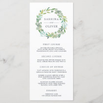 Eucalyptus Wreath Wedding Menu Card