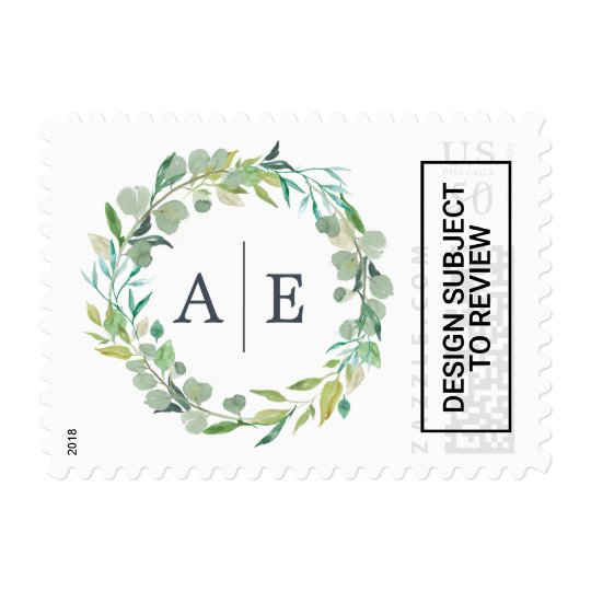 Eucalyptus Wreath Wedding Monogram Postage Zazzle Com