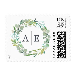 Eucalyptus Wreath Wedding Monogram Postage