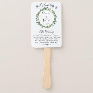 Eucalyptus Wreath Wedding Program Hand Fan