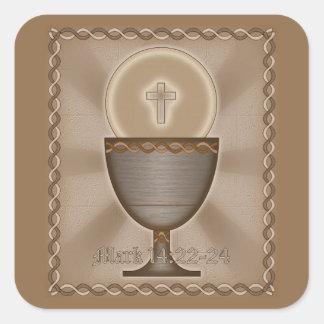 Eucaristía Pegatina Cuadrada
