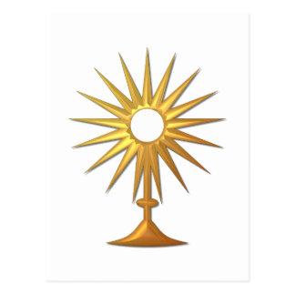 Eucaristía santa en Monstrance de oro Postal
