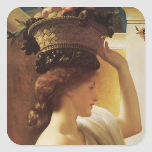 Eucharis A Girl with a Basket of Fruit - Leighton Square Sticker
