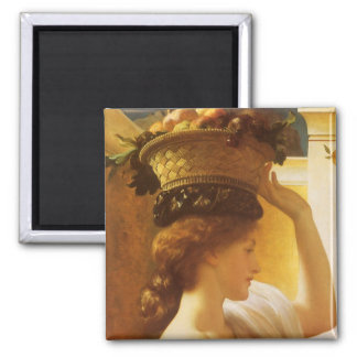 Eucharis - Girl With a Basket of Fruit by Leighton 2 Inch Square Magnet