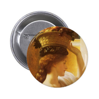 Eucharis - Girl With a Basket of Fruit by Leighton Pinback Button