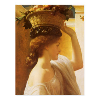 Eucharis - Girl With a Basket of Fruit by Leighton Postcard