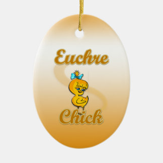 Euchre Chick Double-Sided Oval Ceramic Christmas Ornament