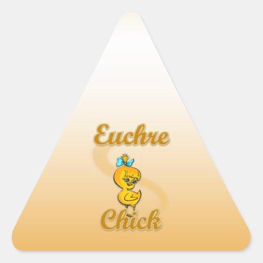 Euchre Chick Triangle Sticker