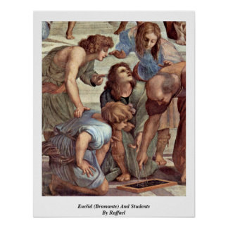 Euclid (Bramante) And Students By Raffael Poster