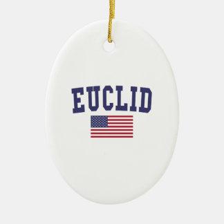Euclid US Flag Ceramic Ornament