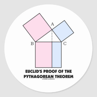 Euclid's Proof Of The Pythagorean Theorem Classic Round Sticker
