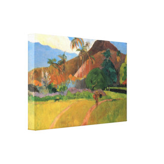 Eugène Henri Paul Gauguin - Mountains in Tahiti Canvas Print