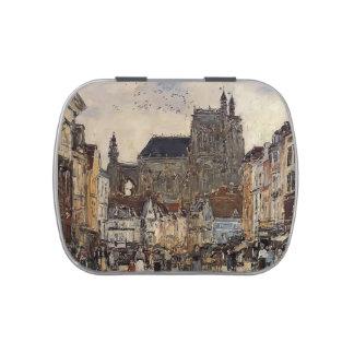 Eugene Boudin- Abbeville, calle y la iglesia Jarrones De Caramelos