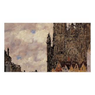 Eugene Boudin- Abbeville, Street and the Church Business Card Templates