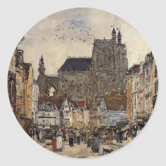 Eugene Boudin- Abbeville, Street and the Church Sticker