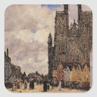 Eugene Boudin- Abbeville, Street and the Church Stickers