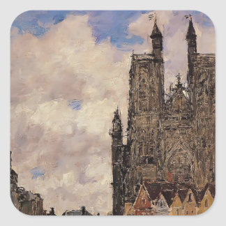 Eugene Boudin- Abbeville, Street and the Church Square Sticker