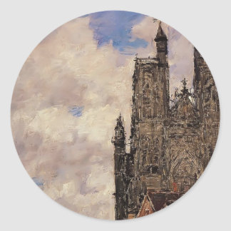 Eugene Boudin- Abbeville, Street and the Church Round Stickers